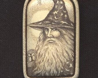 Wizard scrimshaw technique sorcerer Gandalf Moosup  pin