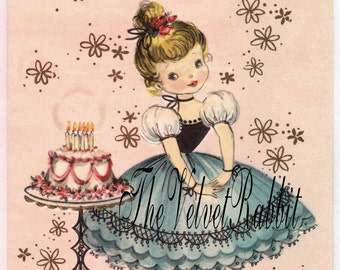 Digital Download Instant.Printable.Girl birthday cake. Gift tags,price tags,use in decoupage, collage,scrapbooks