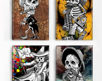 Set of 4 Magnets Day of the Dead Skeleton Men