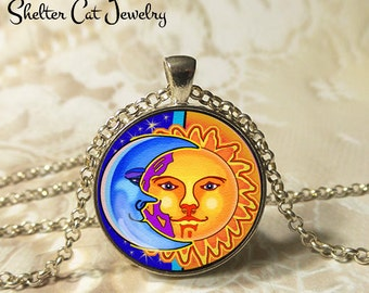 "Sun and the Moon Necklace - 1-1/4"" Circle Pendant or Key Ring - Handmade Wearable Art Photo - Celestial, New Age, Nature, Magic Gift for Her"