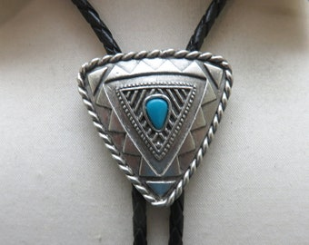 1980s Native American Style Design Bolo Tie, Faux Turquoise, J.J. Signed Dated