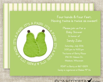 TWIN BABY SHOWER Invitations It's A Pair Boy Or Girl Green Digital Printable Personalized Cards- 90578808