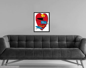Basal #2 Modern Geometric Abstract Signed Art Print in Custom Colors & Sizes