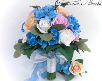 Bridal Bouquet Wedding Bouquet Bridesmaid bouquet White blue Wedding bouquet Alternative wedding bouquet Keepsake bridal bouquet White roses