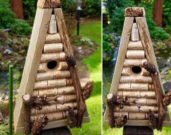 wine cork birdhouse: true a-frame