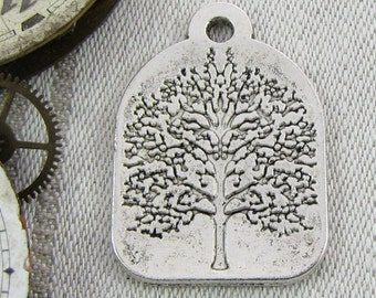 1 or 6, Tree Pendant, Tree Charm, Tree, Forest Charms, Silver Tree, Eco Charm, Environment Charm, Fruit Tree, Tree Charms, NAT016