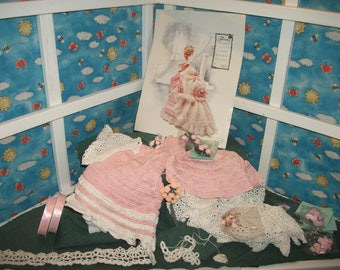 Barbie Victorian 1870's Doll Gown Elegant Pink White Christmas Gift for her Crochet Clothes Project Quick finish with Annie Potter Pattern