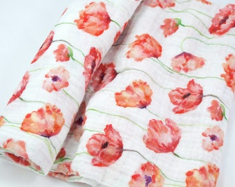 Double Gauze Fabric, Red Watercolor Poppies - floral - 100% cotton muslin fabric by the half yard - great for baby swaddle blankets