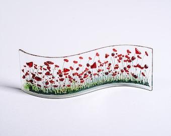PAM Peters Designs - fait à la main en fusion de verre vague Art-coquelicot