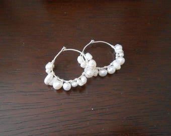 Pearl Cluster Hoop Earrings