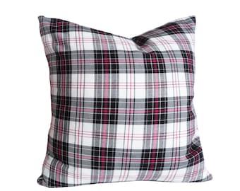 Black White Plaid Pillow, Plaid Pillow Covers, Black White Pink Pillow, Cushion Cover, Large Floor Pillows, 16, 18, 20, 22, 24, 26, 28