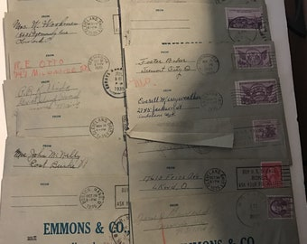 Vintage Paper 16 Emmons & Co. Envelopes w/ Various Stamps 1930s