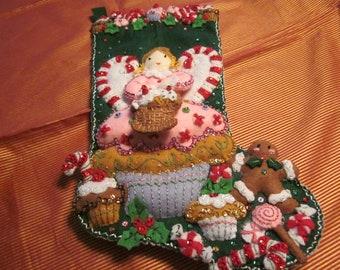 "Bucilla Completed  18"" felt stocking ""Cupcake Angel"""