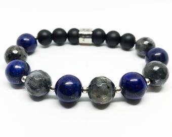 Men's beaded bracelet Labradorite, Lapis  Lazuli, Onyx and Sterling Silver
