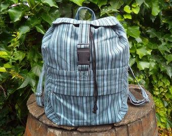 Striped corduroy backpack
