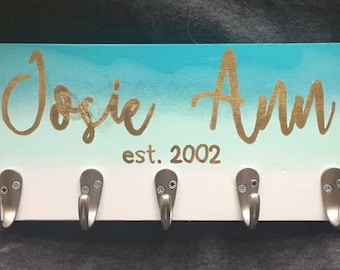 Personalized Wall Hanging Organizer - Blue Ombre