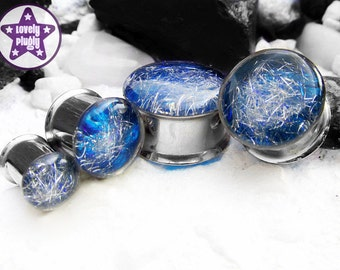"""Subspace Galaxy Plug / Gauge Silver Blue Iridescent Colour Flash 0g, 00g, 7/16"""" / 8mm, 10mm, 11mm"""