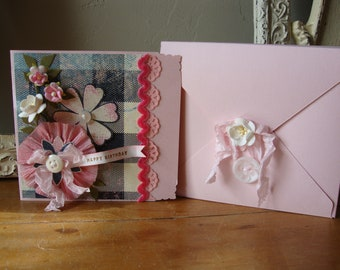 Birthday card for friend sentimental greeting card Shabby pink embellished card with keepsake box paper art card gift