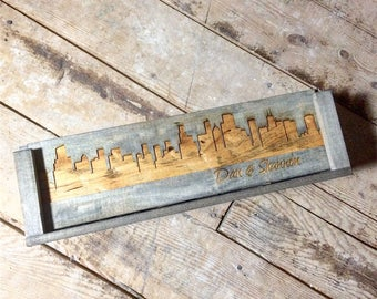 City Skyline Silhouette Engagement Gift Wine Box for One Bottle of Wine, Whiskey or Beer