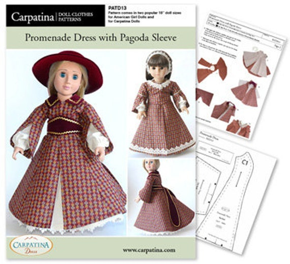 1850s Promenade Dress With Pagoda Sleeve Doll Clothes Pattern