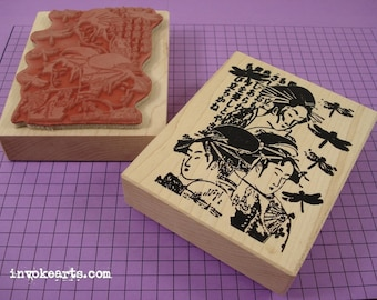 Geisha Collage Stamp / Invoke Arts Collage Rubber Stamps