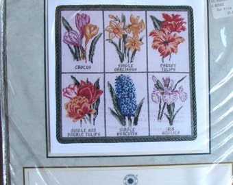 Vintage Needlepoint/Tapestry Kit Spring Botanical It's Polite To Point