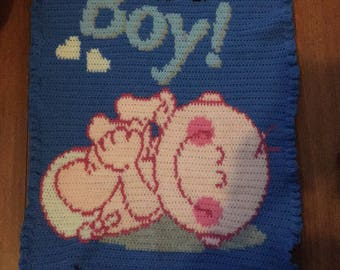 Its a boy crib/pram size blanket