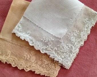 Vintage Lace Handkerchiefs Pair Blue Tan Hankies