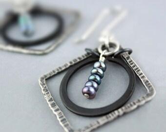 Geometric Hoop Earrings with Freshwater Pearls and Black Steel, Hammered Silver Dangle Earrings