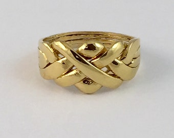Puzzle Ring , Sterling Silver 14k Gold Plated The Original Friendship Ring .