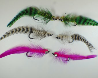 Eelworm Streamer in Grizzly, Green, and Fuschia With Weed Guard, Bass and Pickerel Flies
