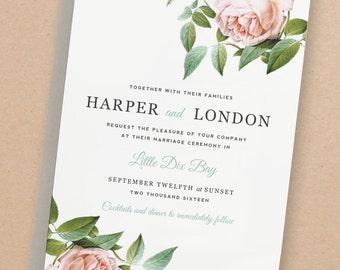 Printable Wedding Invitation Template | INSTANT DOWNLOAD | Vintage Botanical | Word or Pages | Editable Artwork Colors