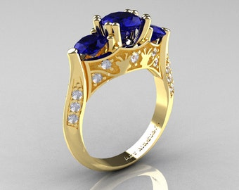 Nature Inspired 14K Yellow Gold Three Stone Blue Sapphire Diamond Solitaire Wedding Ring Y230-14KYGDBS