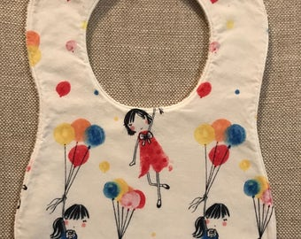 Baby Bib in Japanese Girl with Balloons