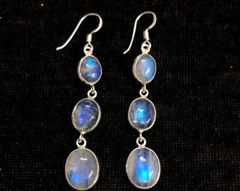 Rainbow Moonstone Earrings, 925 Sterling Silver Moonstone Earrings, AAA Rainbow Moonstone Earrings, Handmade Flashy Moonstone Drop Earrings