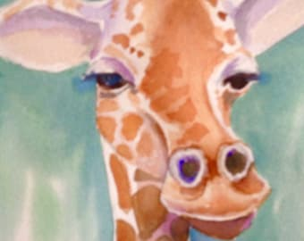4 Giraffe cards, set of 4,from my original painting