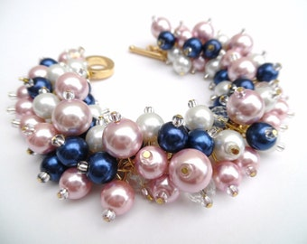 Navy Pink Gold and White Pearl Beaded Bracelet, Pearl Cluster Bracelet, Bridesmaid Jewelry, Pink Bracelet, Wedding Jewelry, Bridesmaid Gift