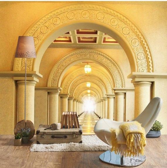 3D Self Adhesive Wallpaper Corridor with Columns/ 3D Wall