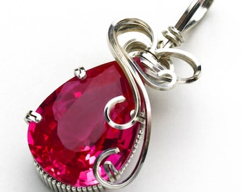 Pink Sapphire CZ Swirls and Curls Silver Filled Wire Pendant
