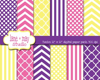 digital scrapbook papers - pink, purple, and yellow quatrefoil, polka dots, stripes and chevron - INSTANT DOWNLOAD