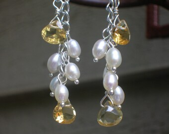 LEMON DROP - Citrine and Freshwater Pearls in Cascading Sterling Silver - Handmade by DORANA