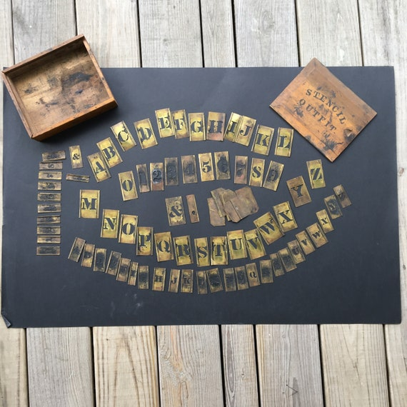Vintage Stencil Outfit Various Size Brass Letters and Numbers