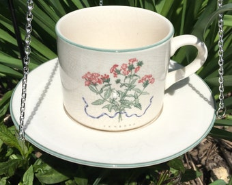 Hanging Repurposed Retro White Green Trimmed Teacup Bird Feeder with Pink Flower Verbena Plant