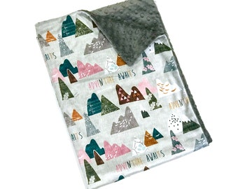 Pink Mountains Baby Girl Blanket - Minky Baby Blanket, Pink and Grey Adventure Awaits Baby Blanket, Ready to Ship Baby Blanket, Baby Gift