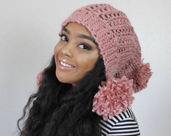 Double Pom-Pom Ribbed Crochet Winter Hat [PATTERN]