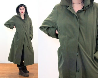 80s London Fog Hooded Coat L, Soft Olive Army Green Unworn Vintage Zip Out Wool Lining Women's Duster Trench All Weather Raincoat, Large
