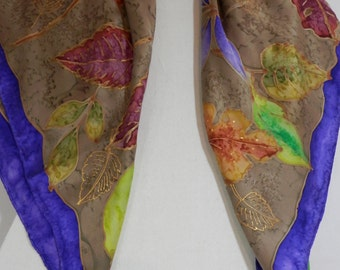 """36"""" Silk Charmeuse Square Autumn Leaves Scarf With Camel Textured Background and Purple Edge Border"""