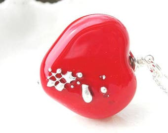 Red Heart Necklace, Lampwork Heart Necklace