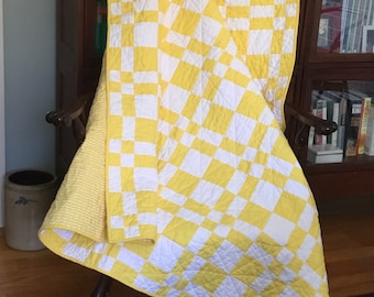 Yellow and White Quilt - Throw, Wall Hanging, Youth Quilt