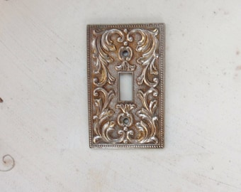 Bronze Switch Plate Cover with Scrolls, M.C. Co Metal Light Switch Cover 60s
